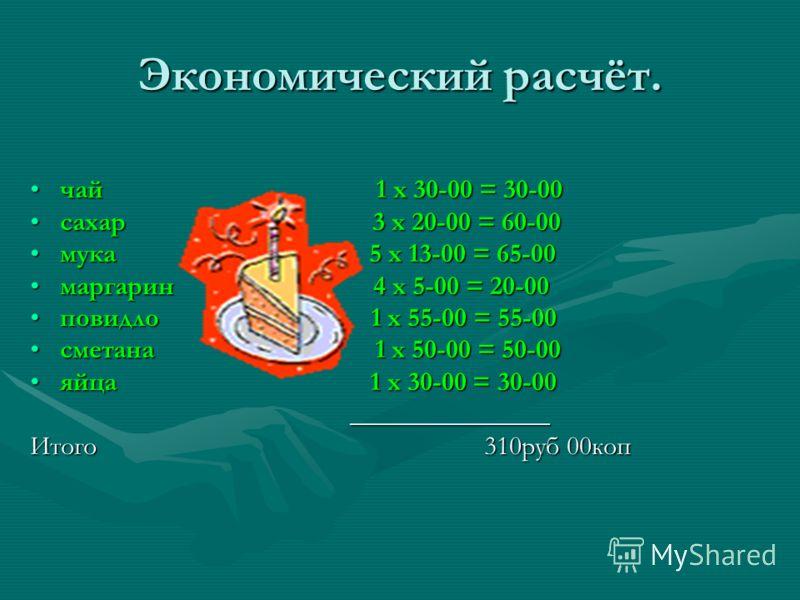 Экономический расчёт. чай 1 х 30-00 = 30-00 сахар 3 х 20-00 = 60-00 мука 5 х 13-00 = 65-00 маргарин 4 х 5-00 = 20-00 повидло 1 х 55-00 = 55-00 сметана 1 х 50-00 = 50-00 яйца 1 х 30-00 = 30-00 _______________ Итого 310руб 00коп