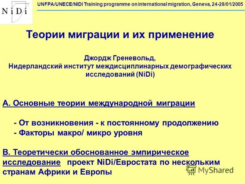 Теории миграции и их применение Джордж Греневольд, Нидерландский институт междисциплинарных демографических исследований (NiDi) A. Основные теории международной миграции - От возникновения - к постоянному продолжению - Факторы макро/ микро уровня B.