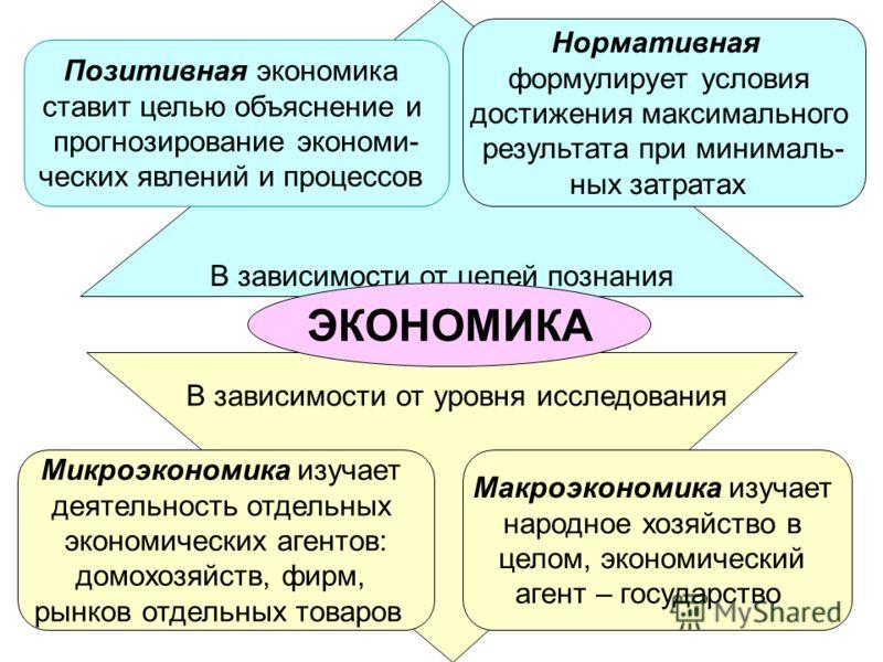 3 В зависимости от целей познания ЭКОНОМИКА Микроэкономика изучает деятельность отдельных экономических агентов: домохозяйств, фирм, рынков отдельных товаров Макроэкономика изучает народное хозяйство в целом, экономический агент – государство Позитив