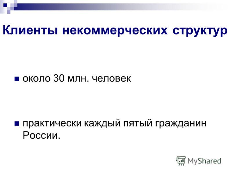 Клиенты некоммерческих структур около 30 млн. человек практически каждый пятый гражданин России.