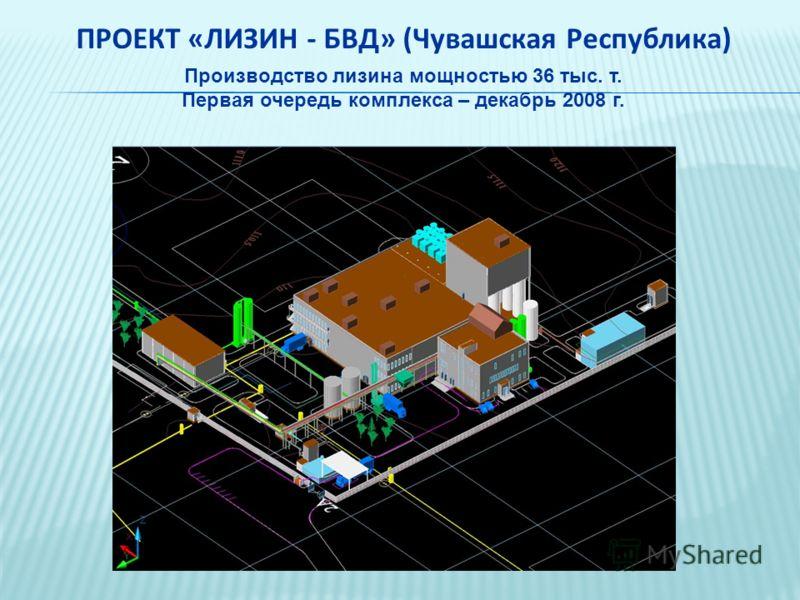 ПРОЕКТ «ЛИЗИН - БВД» (Чувашская Республика) Производство лизина мощностью 36 тыс. т. Первая очередь комплекса – декабрь 2008 г.
