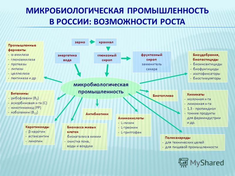 МИКРОБИОЛОГИЧЕСКАЯ ПРОМЫШЛЕННОСТЬ В РОССИИ: ВОЗМОЖНОСТИ РОСТА Биомасса живых клеток - биокатализ в химии - очистка почв, воды и воздуха Каротиноиды - β-каротин - астаксантин - ликопин энергетика вода Полисахариды - для технических целей - для пищевой