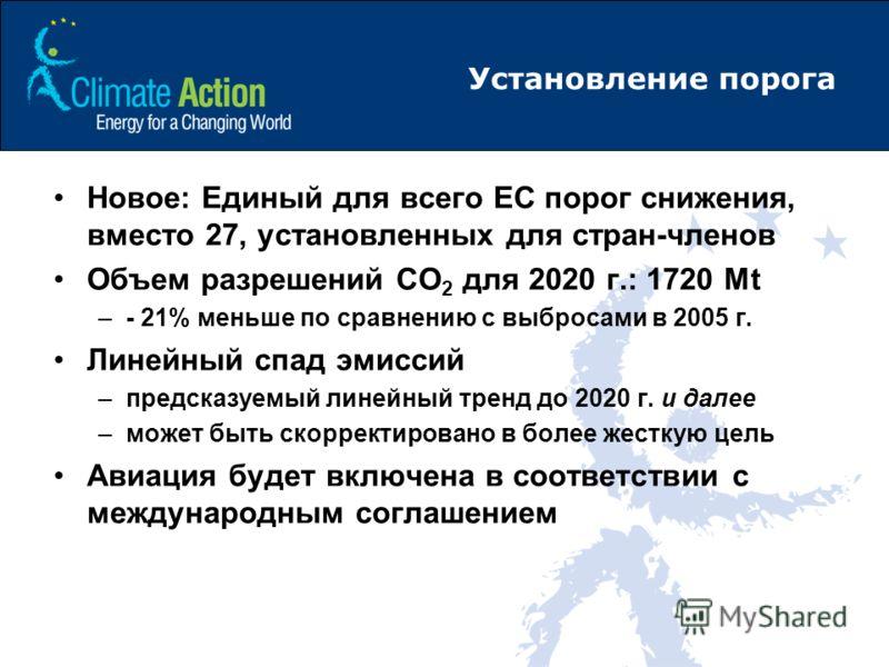 Установление порога Новое: Единый для всего ЕС порог снижения, вместо 27, установленных для стран-членов Объем разрешений CO 2 для 2020 г.: 1720 Mt –- 21% меньше по сравнению с выбросами в 2005 г. Линейный спад эмиссий –предсказуемый линейный тренд д