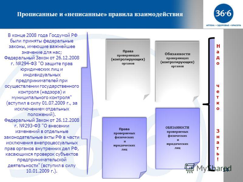 14 Прописанные и « неписанные » правила взаимодействия 14 В конце 2008 года Госдумой РФ были приняты федеральные законы, имеющие важнейшее значение для нас; Федеральный Закон от 26.12.2008 г. 294-ФЗ