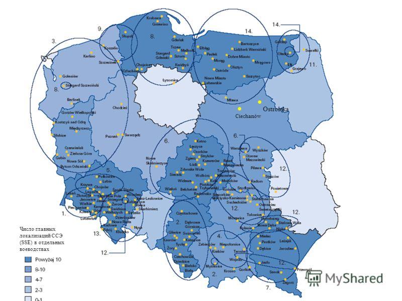 Ostrołęka Ciechanów Число главных локализаций ССЭ (SSE) в отдельных воеводствах