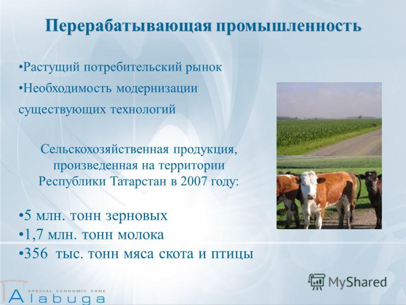 Растущий потребительский рынок Необходимость модернизации существующих технологий Сельскохозяйственная продукция, произведенная на территории Республики Татарстан в 2007 году: 5 млн. тонн зерновых 1,7 млн. тонн молока 356 тыс. тонн мяса скота и птицы
