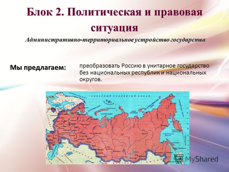 Блок 2. Политическая и правовая ситуация Административно-территориальное устройство государства преобразовать Россию в унитарное государство без национальных республик и национальных округов. Мы предлагаем: