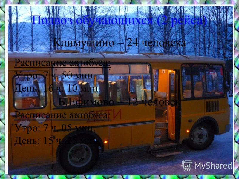 Подвоз обучающихся (2 рейса) Климушино – 24 человека Расписание автобуса: Утро: 7 ч. 50 мин. День: 16 ч. 10 мин. Б.Ефимово – 12 человек Расписание автобуса: Утро: 7 ч. 05 мин. День: 15 ч. 25 мин.
