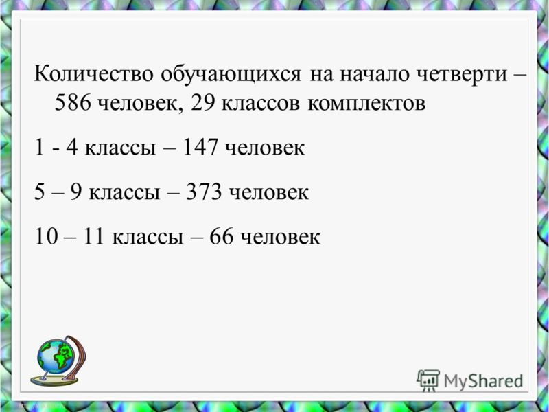 Количество обучающихся на начало четверти – 586 человек, 29 классов комплектов 1 - 4 классы – 147 человек 5 – 9 классы – 373 человек 10 – 11 классы – 66 человек