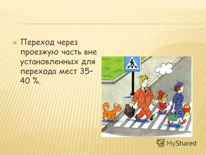 Переход через проезжую часть вне установленных для перехода мест 35– 40 %.
