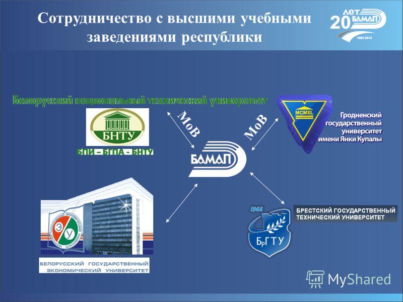 Сотрудничество с высшими учебными заведениями республики. МоВ