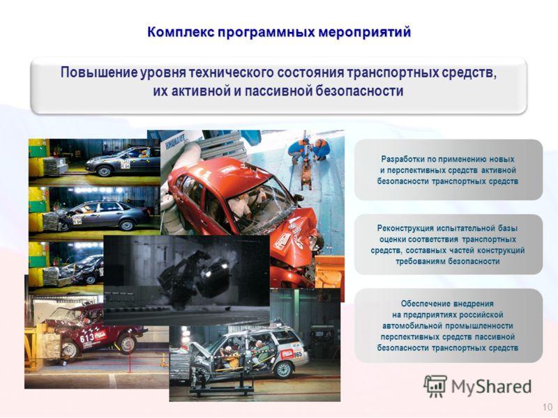 Комплекс программных мероприятий Реконструкция испытательной базы оценки соответствия транспортных средств, составных частей конструкций требованиям безопасности Разработки по применению новых и перспективных средств активной безопасности транспортны