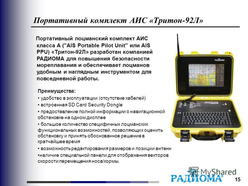 15 Портативный комплект АИС «Тритон-92Л» Портативный лоцманский комплект АИС класса А (
