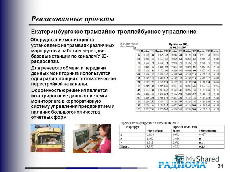 34 Реализованные проекты Екатеринбургское трамвайно-троллейбусное управление Оборудование мониторинга установлено на трамваях различных маршрутов и работает через две базовые станции по каналам УКВ- радиосвязи. Для речевого обмена и передачи данных м