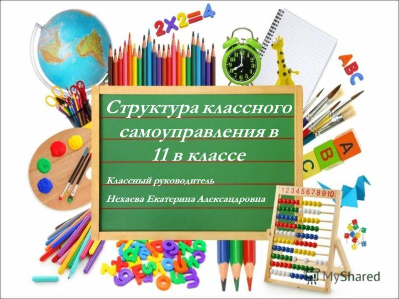 Структура классного самоуправления в 11 в классе Классный руководитель Нехаева Екатерина Александровна