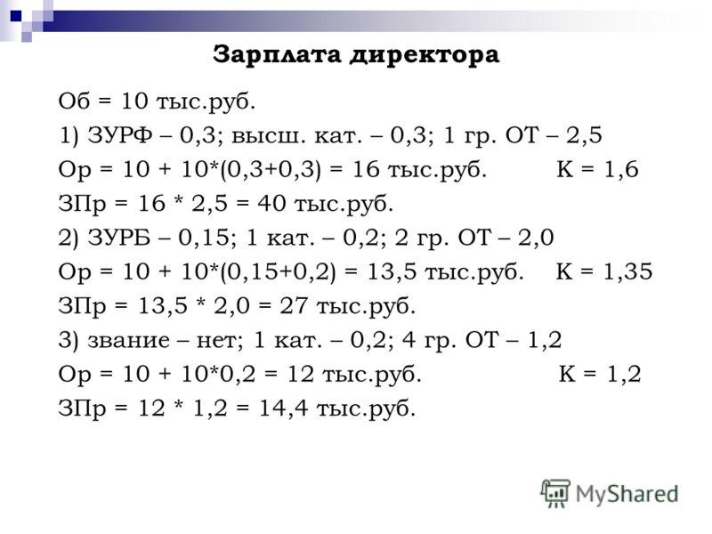 Зарплата директора Об = 10 тыс.руб. 1) ЗУРФ – 0,3; высш. кат. – 0,3; 1 гр. ОТ – 2,5 Ор = 10 + 10*(0,3+0,3) = 16 тыс.руб. К = 1,6 ЗПр = 16 * 2,5 = 40 тыс.руб. 2) ЗУРБ – 0,15; 1 кат. – 0,2; 2 гр. ОТ – 2,0 Ор = 10 + 10*(0,15+0,2) = 13,5 тыс.руб. К = 1,3