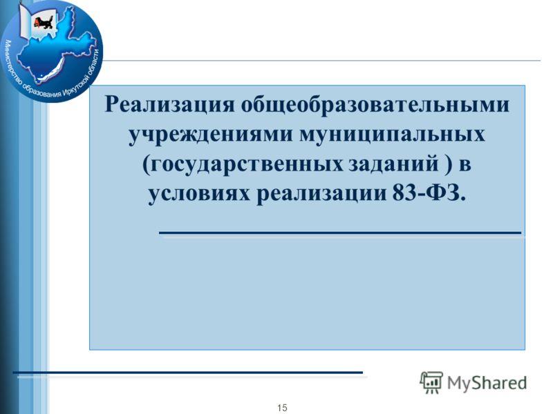 Реализация общеобразовательными учреждениями муниципальных (государственных заданий ) в условиях реализации 83-ФЗ. 15
