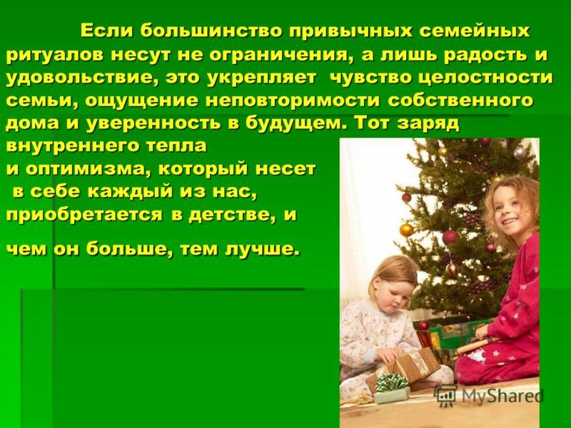 Если большинство привычных семейных ритуалов несут не ограничения, а лишь радость и удовольствие, это укрепляет чувство целостности семьи, ощущение неповторимости собственного дома и уверенность в будущем. Тот заряд внутреннего тепла и оптимизма, кот