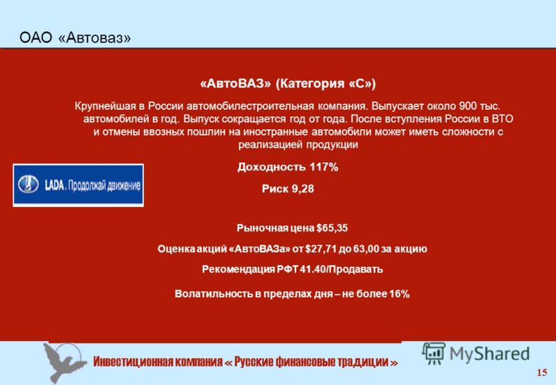 Инвестиционная компания « Русские финансовые традиции » 15 «АвтоВАЗ» (Категория «С») Крупнейшая в России автомобилестроительная компания. Выпускает около 900 тыс. автомобилей в год. Выпуск сокращается год от года. После вступления России в ВТО и отме