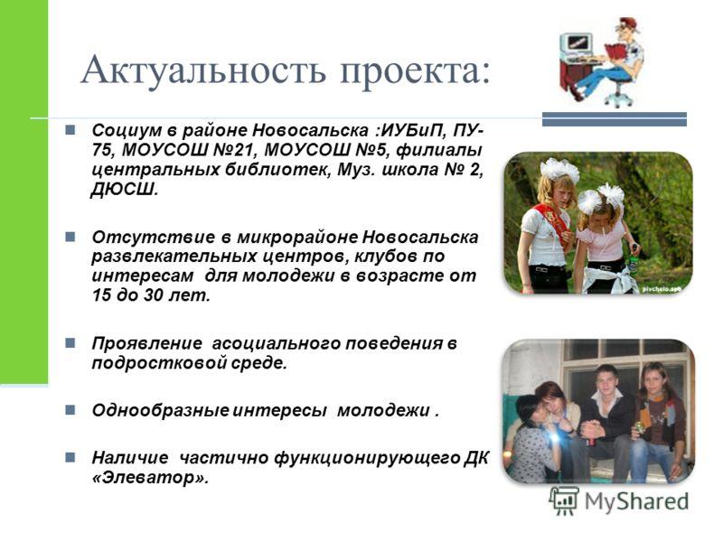 Актуальность проекта: Социум в районе Новосальска :ИУБиП, ПУ- 75, МОУСОШ 21, МОУСОШ 5, филиалы центральных библиотек, Муз. школа 2, ДЮСШ. Отсутствие в микрорайоне Новосальска развлекательных центров, клубов по интересам для молодежи в возрасте от 15