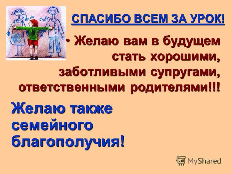 СПАСИБО ВСЕМ ЗА УРОК! Желаю вам в будущем стать хорошими, заботливыми супругами, ответственными родителями!!!Желаю вам в будущем стать хорошими, заботливыми супругами, ответственными родителями!!! Желаю также семейного благополучия! Желаю также семей