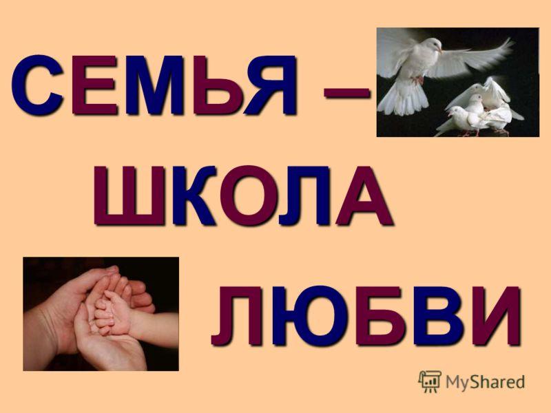 ЛЮБВИЛЮБВИЛЮБВИЛЮБВИ СЕМЬЯ –СЕМЬЯ –СЕМЬЯ –СЕМЬЯ – ШКОЛАШКОЛАШКОЛАШКОЛА