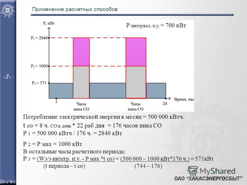 Применение расчетных способов Потребление электрической энергии в месяц = 500 000 кВтч. t со = 8 ч. СО в день * 22 раб дня = 176 часов пика СО Р 1 = 500 000 кВтч / 176 ч. = 2840 кВт Р 2 = Р мах = 1000 кВт В остальные часы расчетного периода: Р 3 = (W