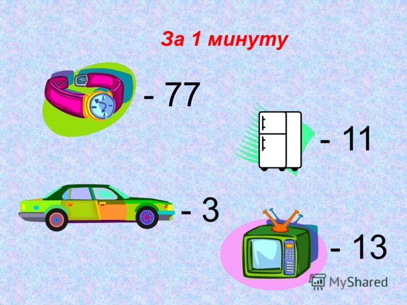 За 1 минуту - 77 - 11 - 3 - 13