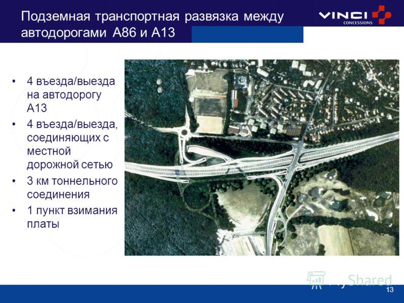 13 Подземная транспортная развязка между автодорогами А86 и А13 4 въезда/выезда на автодорогу А13 4 въезда/выезда, соединяющих с местной дорожной сетью 3 км тоннельного соединения 1 пункт взимания платы