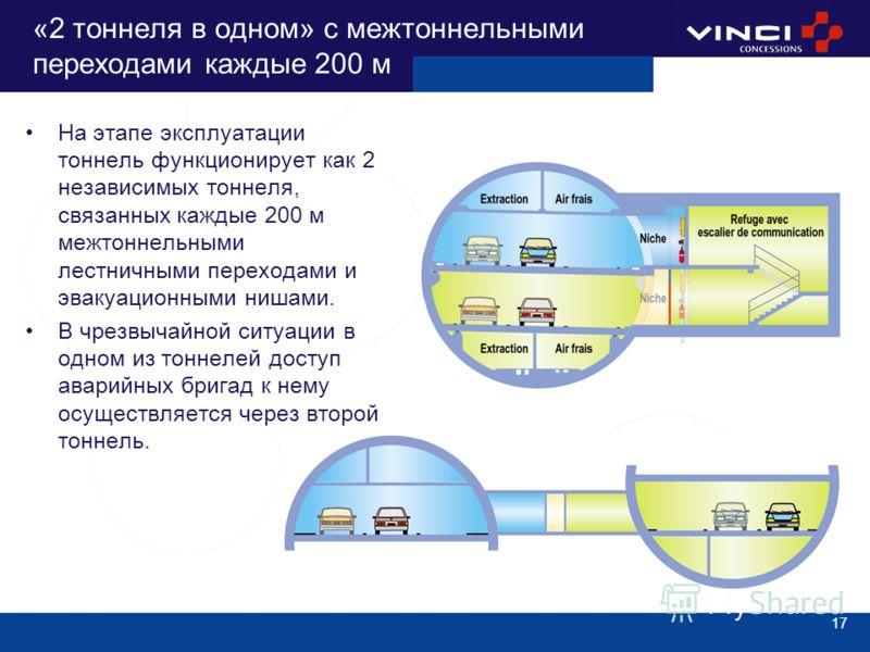 17 «2 тоннеля в одном» с межтоннельными переходами каждые 200 м На этапе эксплуатации тоннель функционирует как 2 независимых тоннеля, связанных каждые 200 м межтоннельными лестничными переходами и эвакуационными нишами. В чрезвычайной ситуации в одн