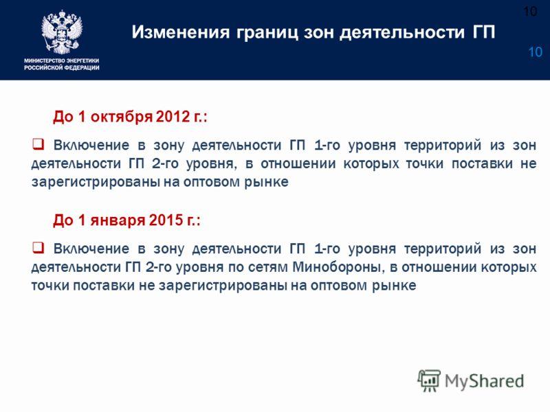 10 Изменения границ зон деятельности ГП 10 До 1 октября 2012 г.: Включение в зону деятельности ГП 1-го уровня территорий из зон деятельности ГП 2-го уровня, в отношении которых точки поставки не зарегистрированы на оптовом рынке До 1 января 2015 г.: