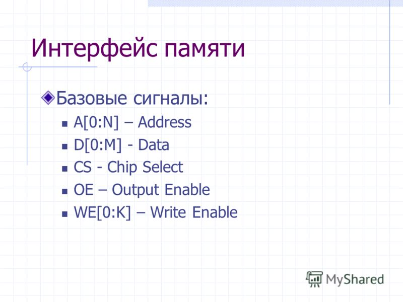 Интерфейс памяти Базовые сигналы: A[0:N] – Address D[0:M] - Data CS - Chip Select OE – Output Enable WE[0:K] – Write Enable
