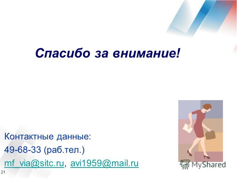 21 Контактные данные: 49-68-33 (раб.тел.) mf_via@sitc.rumf_via@sitc.ru, avi1959@mail.ruavi1959@mail.ru Спасибо за внимание!