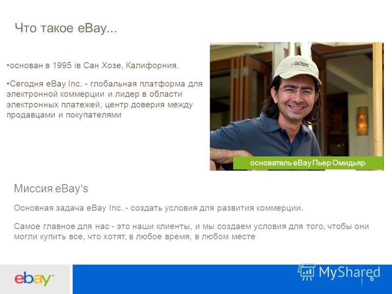 66 Что такое eBay... основан в 1995 iв Сан Хозе, Калифорния. Сегодня eBay Inc. - глобальная платформа для электронной коммерции и лидер в области электронных платежей, центр доверия между продавцами и покупателями основатель eBay Пьер Омидьяр Миссия