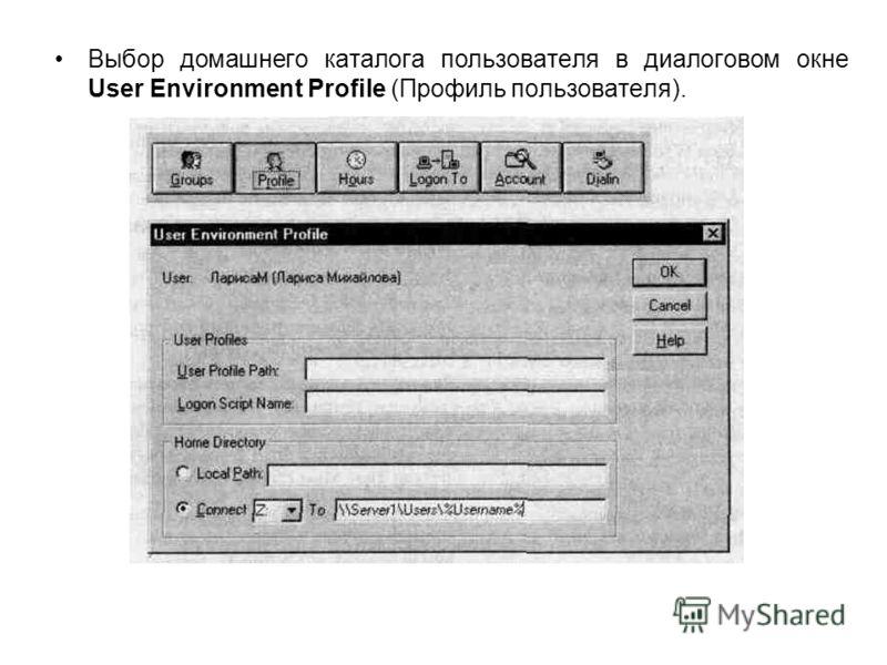 Выбор домашнего каталога пользователя в диалоговом окне User Environment Profile (Профиль пользователя).