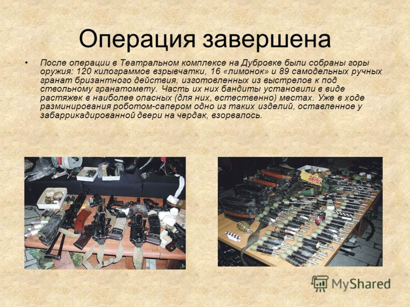 Операция завершена После операции в Театральном комплексе на Дубровке были собраны горы оружия: 120 килограммов взрывчатки, 16 «лимонок» и 89 самодельных ручных гранат бризантного действия, изготовленных из выстрелов к под ствольному гранатомету. Час