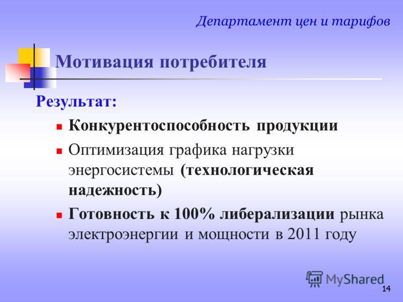14 Мотивация потребителя Результат: Конкурентоспособность продукции Оптимизация графика нагрузки энергосистемы (технологическая надежность) Готовность к 100% либерализации рынка электроэнергии и мощности в 2011 году Департамент цен и тарифов