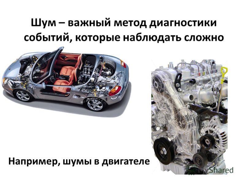 Шум – важный метод диагностики событий, которые наблюдать сложно Например, шумы в двигателе