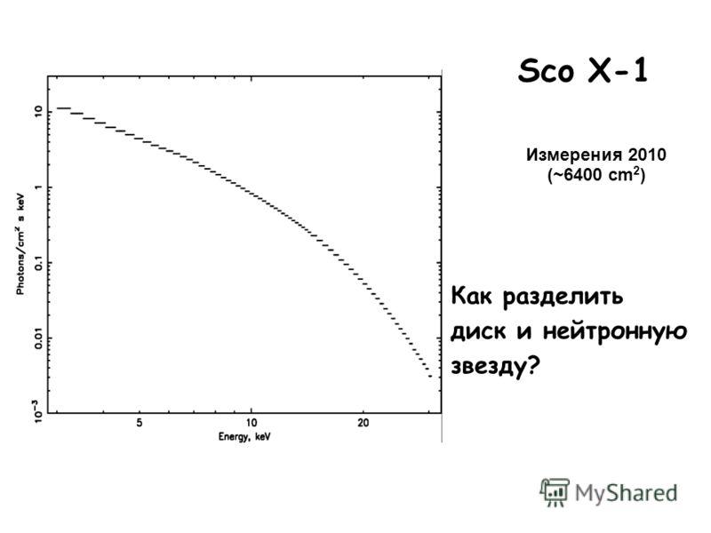 Как разделить диск и нейтронную звезду? Sco X-1 Измерения 2010 (~6400 cm 2 )