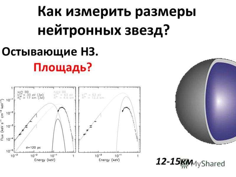 Как измерить размеры нейтронных звезд? 12-15км Остывающие НЗ. Площадь?