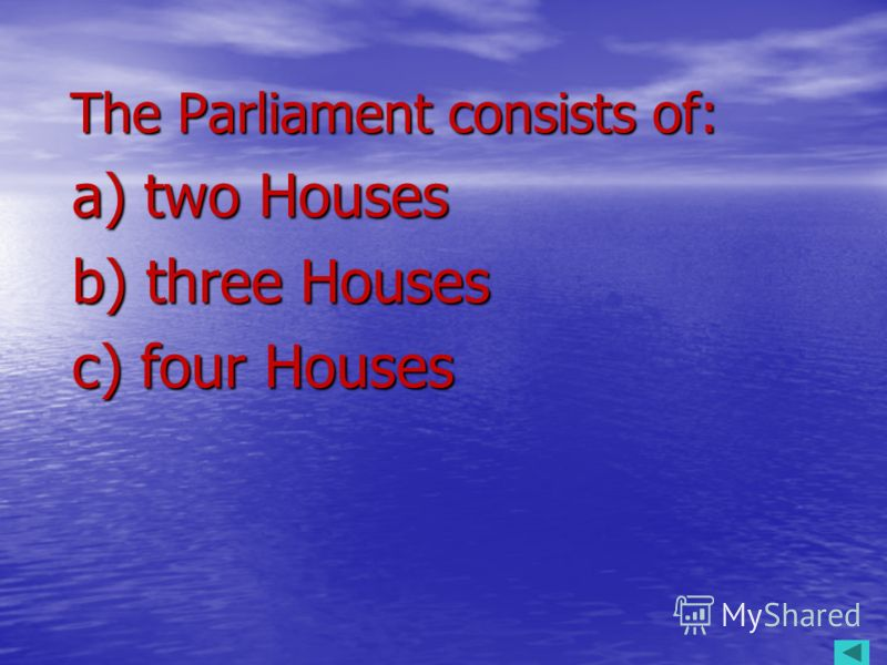 The Parliament consists of: a) two Houses b) three Houses c) four Houses