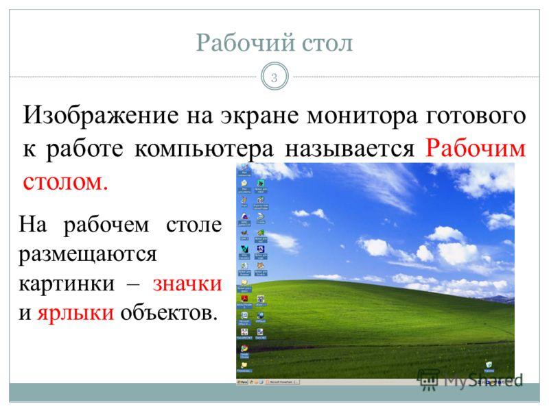 Изображение на экране монитора готового к работе компьютера называется Рабочим столом. На рабочем столе размещаются картинки – значки и ярлыки объектов. 3