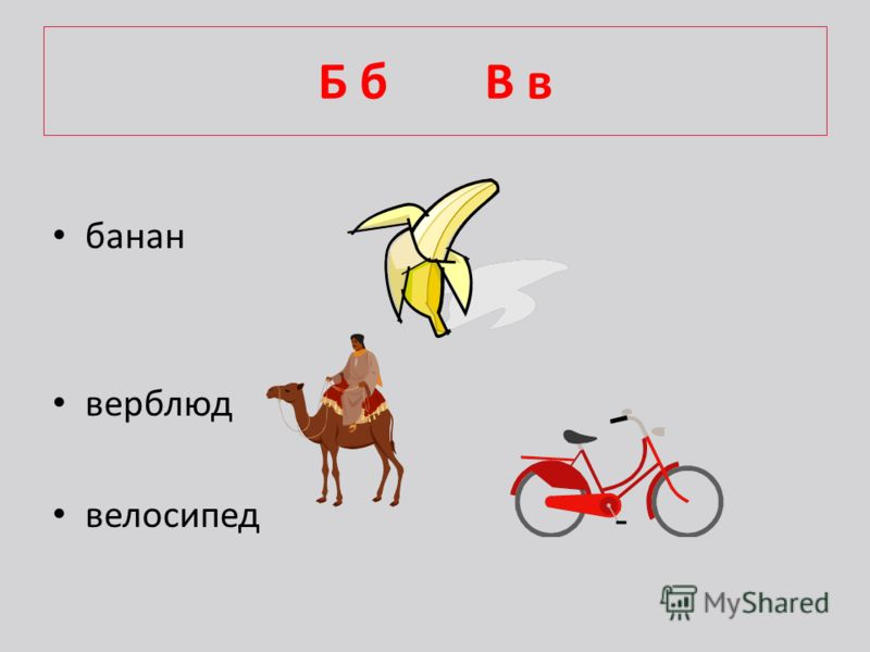 Б б В в банан верблюд велосипед