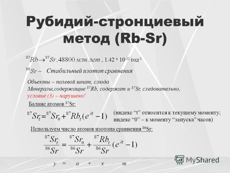 Рубидий-стронциевый метод (Rb-Sr) Стабильный изотоп сравнения Объекты – полевой шпат, слюда Минералы,содержащие 87 Rb, содержат и 87 Sr, следовательно, условие (3) – нарушено! Баланс атомов 87 Sr: (индекс t относится к текущему моменту; индекс 0 – к