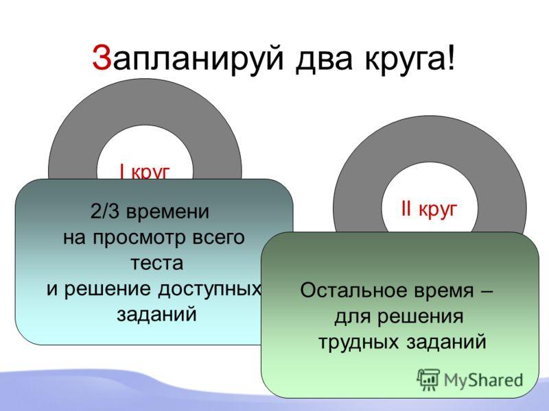 Запланируй два круга! I круг 2/3 времени на просмотр всего теста и решение доступных заданий II круг Остальное время – для решения трудных заданий