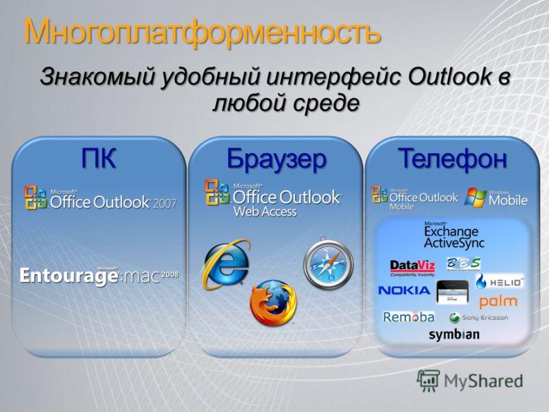 Многоплатформенность Знакомый удобный интерфейс Outlook в любой среде ПКБраузерТелефон