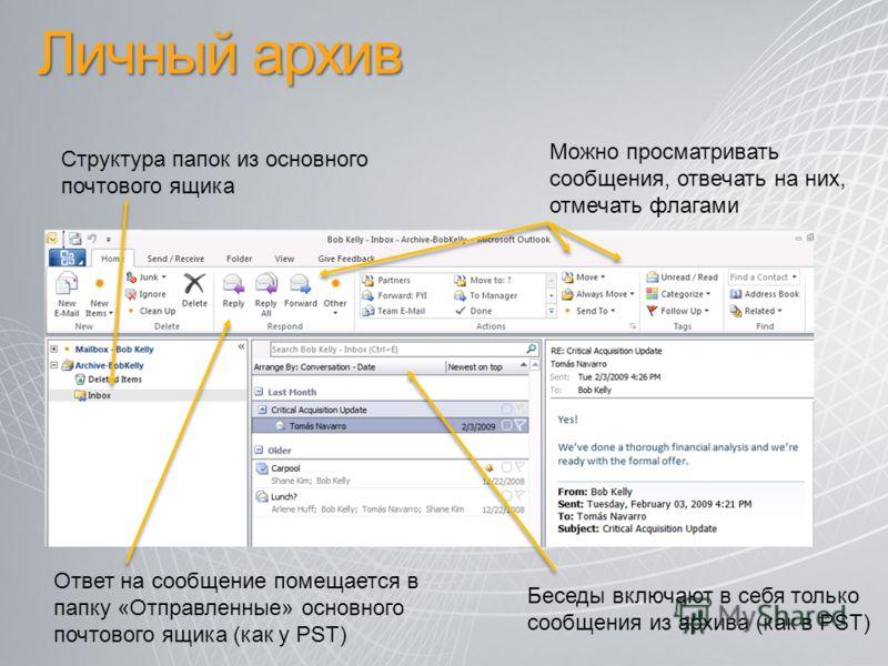 Личный архив Можно просматривать сообщения, отвечать на них, отмечать флагами Беседы включают в себя только сообщения из архива (как в PST) Ответ на сообщение помещается в папку «Отправленные» основного почтового ящика (как у PST) Структура папок из