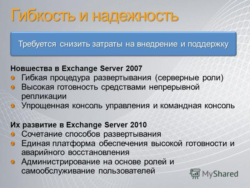 Гибкость и надежность Новшества в Exchange Server 2007 Гибкая процедура развертывания (серверные роли) Высокая готовность средствами непрерывной репликации Упрощенная консоль управления и командная консоль Их развитие в Exchange Server 2010 Сочетание