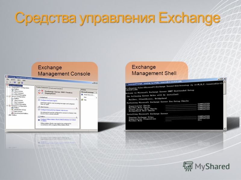 Exchange Management Console Exchange Management Shell Средства управления Exchange