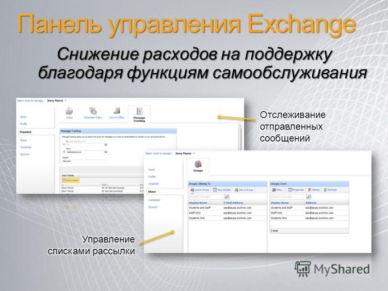 Панель управления Exchange Снижение расходов на поддержку благодаря функциям самообслуживания
